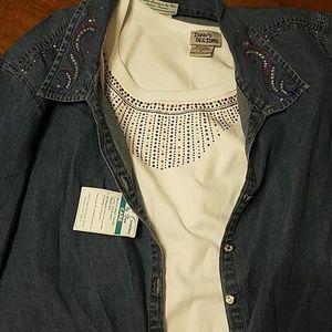 👸🧥🇺🇸 NWT 2 piece Blingy Shirt Set